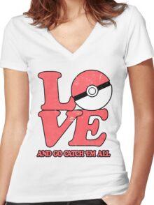 Poke-Love #2 Women's Fitted V-Neck T-Shirt
