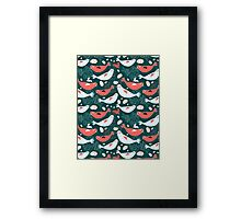 Sea pattern of seals and sea of jellyfish  Framed Print