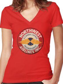 Northwest Airlines Vintage sign Women's Fitted V-Neck T-Shirt