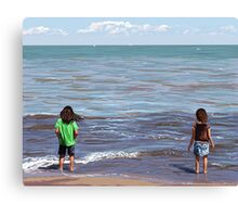 Getting Their Feet Wet Canvas Print