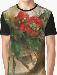 Christmas Flowers in Glass Vase Graphic T-Shirt