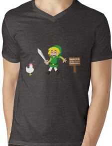 Link and the chickens... Mens V-Neck T-Shirt