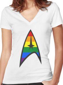 Gay Star Trek Emblem Women's Fitted V-Neck T-Shirt