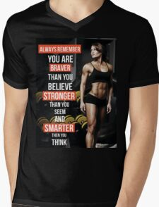 You Are Braver And Stronger Than You Believe Mens V-Neck T-Shirt