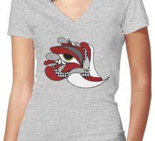 Alabama Elephant Hounds tooth Eye Women's Fitted V-Neck T-Shirt