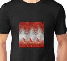 three redbirds in fire background Unisex T-Shirt