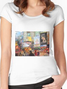 New York Times Square - Acrylic Artwork Women's Fitted Scoop T-Shirt
