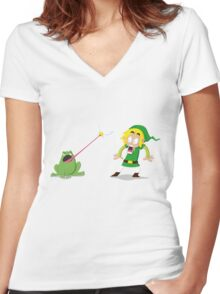 Link and a frog Women's Fitted V-Neck T-Shirt