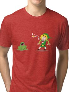 Link and a frog Tri-blend T-Shirt