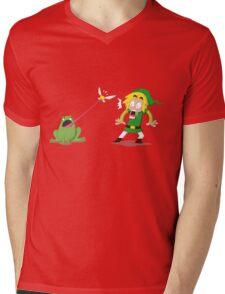 Link and a frog Mens V-Neck T-Shirt