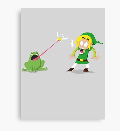 Link and a frog Canvas Print