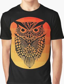 Owl orange gradient oo black bg Graphic T-Shirt