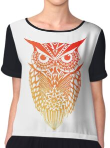 Owl orange gradient Chiffon Top