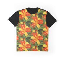 Orange Striped Day Lilies After Rain Graphic T-Shirt