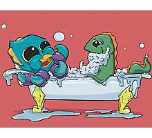 Kraken & Loch Ness in the Bathtub w/ BG Photographic Print