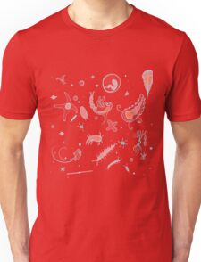 Black, Blue, and Red Nautical Bioluminescent Plankton Pattern Unisex T-Shirt