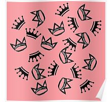 Crowns in Pink Poster