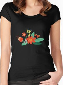 Flowers and hearts Women's Fitted Scoop T-Shirt