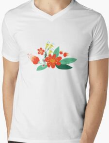Flowers and hearts Mens V-Neck T-Shirt