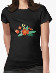 Flowers and hearts Womens Fitted T-Shirt