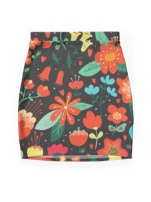 Flowers and hearts Mini Skirt