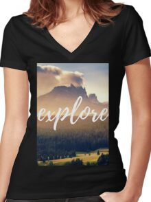 Explore Women's Fitted V-Neck T-Shirt