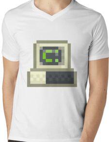 Pixel IBM PC Mens V-Neck T-Shirt