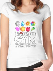 Pokemon - I GO TO THE GYM EVERY DAY - Transparent Women's Fitted Scoop T-Shirt