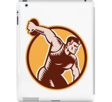Discus Thrower Circle Woodcut iPad Case/Skin