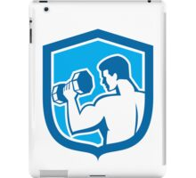 Man Lifting Dumbbell Shield Retro iPad Case/Skin