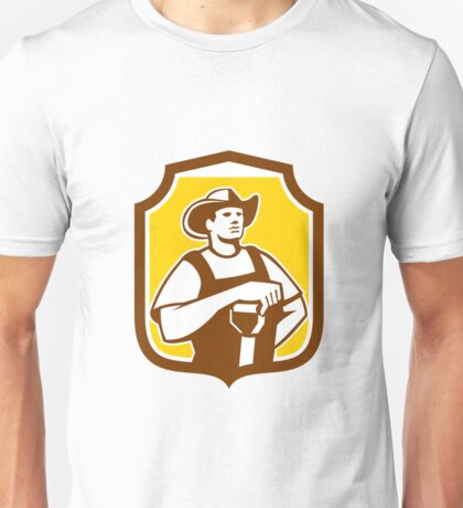 Organic Farmer Shovel Shield Retro Unisex T-Shirt