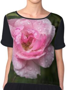 Pink Rose with Raindrops Chiffon Top