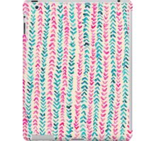Hand Painted Herringbone Pattern in Pink & Turquoise  iPad Case/Skin