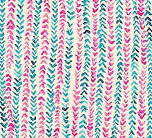 Hand Painted Herringbone Pattern in Pink & Turquoise  by Tangerine-Tane