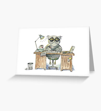 Workaholic owl Greeting Card
