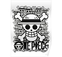 One Piece - Straw Hat Jolly Roger (BW) Poster