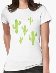 Linocut Cacti Minty Pinky Womens Fitted T-Shirt