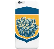 Crop Harvest Basket Shield Woodcut iPhone Case/Skin