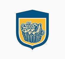 Crop Harvest Basket Shield Woodcut Unisex T-Shirt