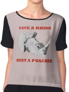 Save A Rhino, Hunt A Poacher Chiffon Top