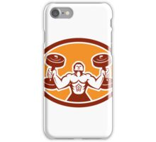 Man Lifting Dumbbell Weight Physical Fitness Retro iPhone Case/Skin