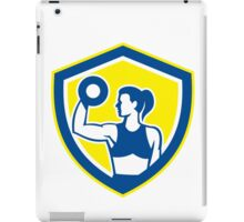 Woman Lifting Dumbbell Weight Side View Retro iPad Case/Skin
