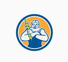 Zeus Greek God Arms Cross Thunderbolt Circle Retro T-Shirt