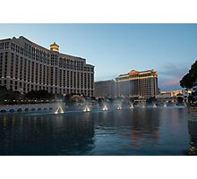 Early Evening Water Dance - Bellagio, Las Vegas Photographic Print