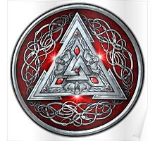 Norse Triskele Valknut Shield in Silver and Red Poster