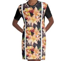 Peach Flower by Snow Graphic T-Shirt Dress