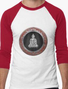 Treasure Trove - Silver Buddha on Red Velvet Men's Baseball ¾ T-Shirt