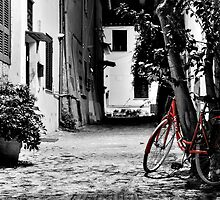 Red Bike on B&W by Christian Buoro