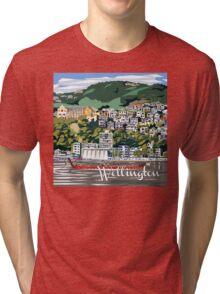 Wellington Harbour by Ira Mitchell-Kirk Tri-blend T-Shirt