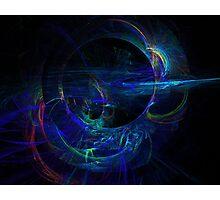 Cold Steel Black Blue Digital Fractal Pattern Photographic Print